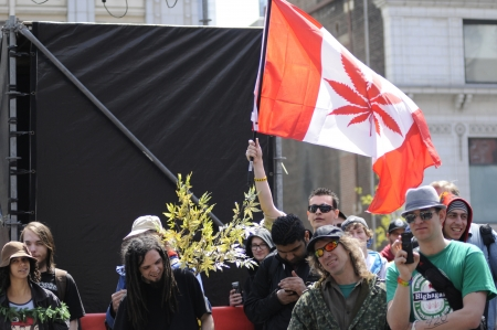 TORONTO - APRIL 20: Marijuana legalization supporters listening to music during the annual marijuana 420 event at Yonge & Dundas Square on April 20 2012 in Toronto, Canada.