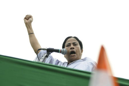 KOLKATA - FEBRUARY 20: Indian Railways minister Ms. Mamata Banerjee speaking angrily about the atrocities of the state government during a political rally in Kolkata, India on February 20, 2011. Editorial