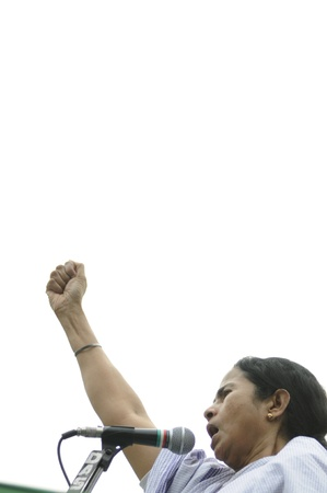 statesman: KOLKATA - FEBRUARY 20: Indian Railways minister Ms. Mamata Banerjee in an agitated mood during a political rally in Kolkata, India on February 20, 2011. Editorial
