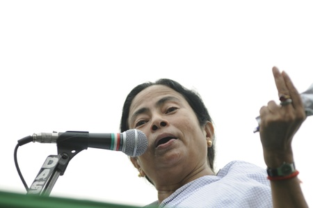 KOLKATA - FEBRUARY 20: Indian Railways minister Ms. Mamata Banerjee speaking to her followers during a political rally organized by her party in Kolkata, India on February 20, 2011.