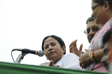 KOLKATA - FEBRUARY 20: Indian Railways minister Ms. Mamata Banerjee along with her party leaders during a political rally in Kolkata, India on February 20, 2011.