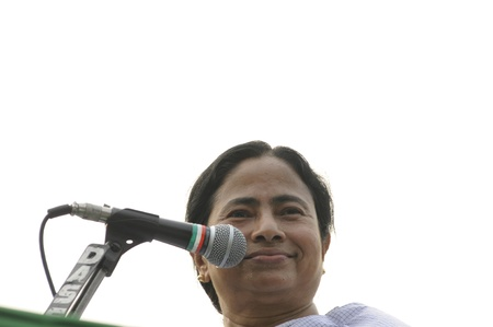 KOLKATA - FEBRUARY 20: Indian Railways minister Ms. Mamata Banerjee sharing a rare laugh while giving her speech during a political rally in Kolkata, India on February 20, 2011.