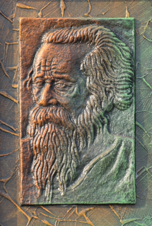 tagore: KOLKATA - FEBRUARY 23: An abstract art of Nobel laureate Rabindranath Tagore on display during the Handicraft Fair in Kolkata-the biggest of its kind in Asia on February 23, 2011 in Kolkata, India. Editorial