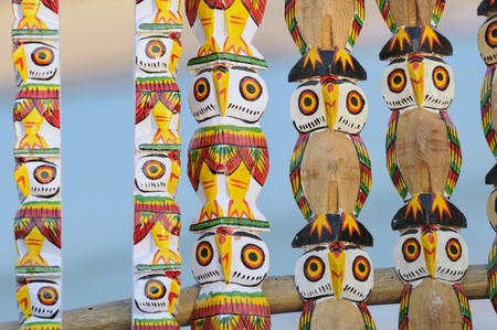 KOLKATA - FEBRUARY 23: An abstract wooden art of owls ,on display during the Handicraft Fair in Kolkata-the biggest of its kind in Asia on February 23,2011 in Kolkata,India. Editorial