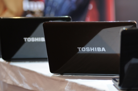 KOLKATA- FEBRUARY 20: Toshiba Laptops on display during the Information and Communication Technology (ICT) conference and exhibition in Kolkata, India on February 20, 2011 in Kolkata, India.