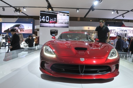 TORONTO-FEBRUARY 22: A red Chrysler Viper during the 40th International Auto Show on February 22, 2013 in Toronto, Canada.