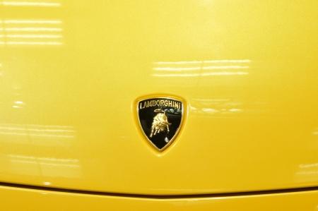 TORONTO-FEBRUARY 22: Close up of a lamborghini logo during the 40th International Auto Show on February 22, 2013 in Toronto, Canada.
