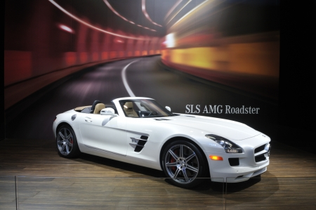 TORONTO-FEBRUARY 22: A Mercedes-Benz SLS AMG Roadster during the 40th International Auto Show on February 22, 2013 in Toronto, Canada. Editorial
