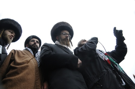 jewish group: TORONTO - JANUARY 10: Israeli rabbis giving speeches in a rally to condemn the Israel occupation on Gaza on January 10 2009 in Toronto, Canada. Editorial