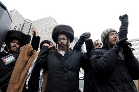 jewish group: TORONTO - JANUARY 10: Israeli rabbis also participating in a rally to condemn the Israel occupation on Gaza on January 10 2009 in Toronto, Canada.