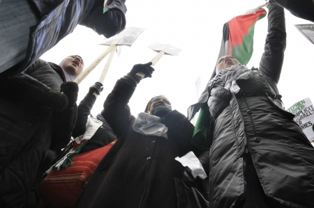 TORONTO - JANUARY 10: Agitated Arab women chanting slogans against Israeli atrocities during a rally to condemn the Israel occupation on Gaza on January 10 2009 in Toronto, Canada.