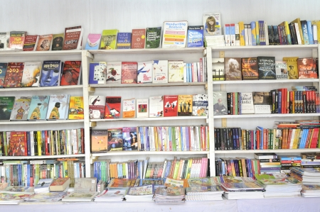 KOLKATA- FEBRUARY 4: An empty book stall before the start of the day during the 2011 Kolkata Book fair in Kolkata, India on February 4, 2011.
