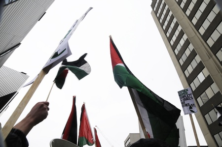 TORONTO - JANUARY 10: Palestine flags flying during a rally to condemn the Israel occupation on Gaza on January 10 2009 in Toronto, Canada.