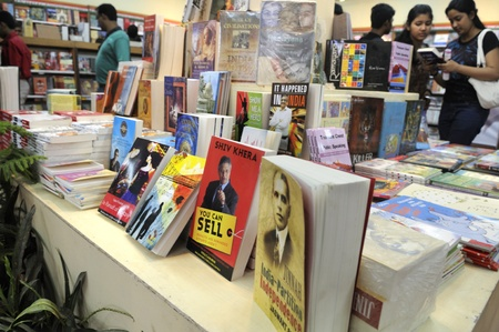 KOLKATA- FEBRUARY 4: Stack of Corporate and Philosophical books in a book stall during the 2011 Kolkata Book Fair in Kolkata, India on February 4, 2011.