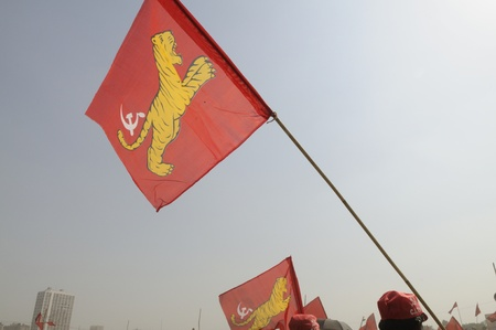 bloc: KOLKATA- FEBRUARY 13: Flag of All India Forward Bloc a coalition partner in the Government flying, during a political rally in Kolkata, India on February 13, 2011.