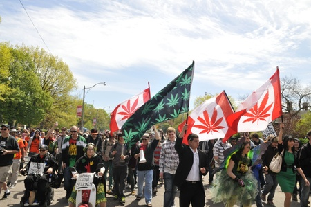 TORONTO - MAY 5: Marijuana legalization activists participating in a global rally during the 14th annual Global Marijuana March on May 5 2012 in Toronto, Canada.