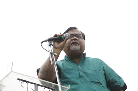 KOLKATA - FEBRUARY 20: Partha Chatterjee the leader of opposition in the assembly speaking during a rally organized to kick the 2011 election champagne, in Kolkata, India on February 20, 2011.