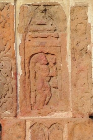 The Radha Gobinodo temple in Jaydev -Kenduli in Birbhum District of the West Bengal State in India has exquisite terracotta carvings This part of the temple shows Hanauman-a character from Ramayana