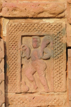 The Radha Gobinodo temple in Jaydev -Kenduli in Birbhum District of the West Bengal State in India has exquisite terracotta carvings  This part of the temple shows Hanuman- a character from Ramayana