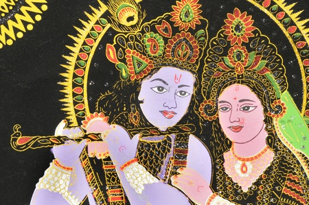 A panted image of Hindu God Krishna and Hindu Goddesses Radha  Redakční