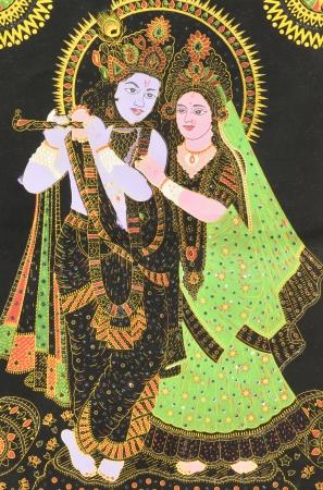 krishna: Een hijgde afbeelding van de Hindoe god Krishna en Radha Hindoe Godinnen