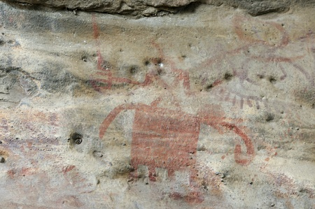 mesolithic: A prehistoric abstract cave painting in Bhimbetka -India ,