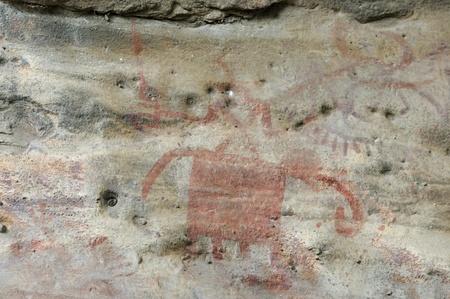 cave painting: Una pintura abstracta cueva prehist�rica en Bhimbetka-India,