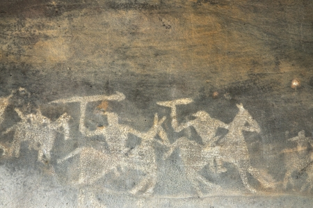 historical sites: A prehistoric cave painting in Bhimbetka -India  Stock Photo