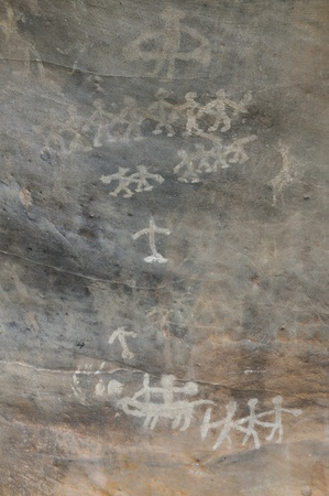 cave painting: Una pintura rupestre prehistórico en Bhimbetka-India Foto de archivo