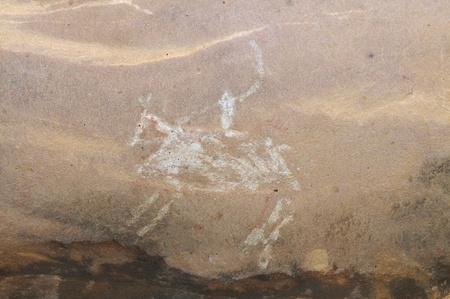 A prehistoric cave painting in Bhimbetka -India  photo