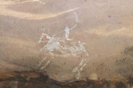cave painting: Una pittura rupestre preistorica in Bhimbetka-India