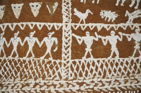 Sculpture on ancient indian village walls