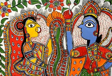 ヒンドゥー教の神クリシュナとヒンドゥー教の女神ラーダーの手工芸品