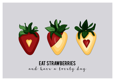 A6 greeting card with dipped strawberries and sample text message eat strawberries and have a lovely day; Hand drawn, vector illustration