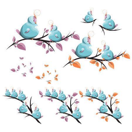 cute birds with topknot on a tree branch; design elements: home, childrens room, wall decor, for greeting cards, book illustration, fabric pattern, kids clothes, apparel print; vector, hand drawn