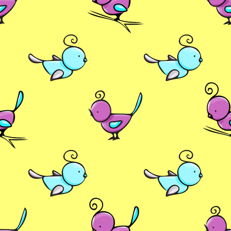 seamless vector pattern with cute hand drawn little cartoon birds; perfect for wrapping, fabric, textile prints, childrens room wallpaper, baby outfit, kids clothes decoration