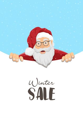 Christmas sale banner, Santa Claus poster, winter season greeting card. Flat cartoon style, minimalist clean template design with sample message. Festive background or postcard Stock Illustratie