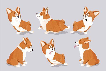 Corgi dog puppies set. Isolated, hand drawn, vector illustration. Ilustração