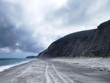 unexplored: Secret (Tokyo, Japan) beach for surfers in Niijima island Stock Photo