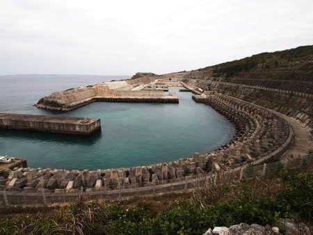 pinched: Minami-Daito fishing port (Okinawa, Japan)