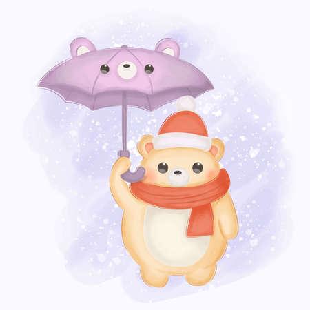 cute baby bear and his umbrella Illustration
