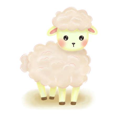 adorable baby lamb illustration Ilustración de vector