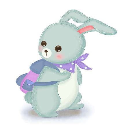 blue baby bunny going to school Banque d'images - 150759230