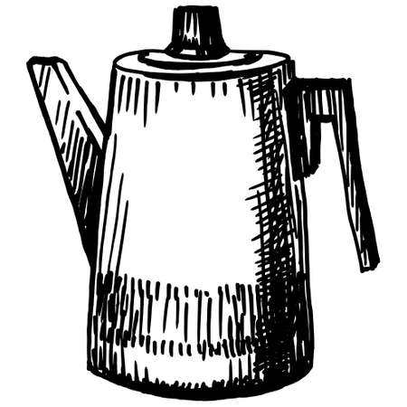 electric kettle: hand drawn, sketch, vector illustration of electric kettle