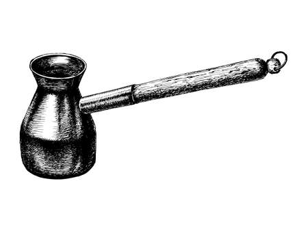 coffee maker: dibujado a mano, vector, ilustraci�n dibujo de Turk, cafetera Vectores