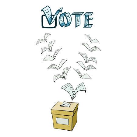 dessinés à la main, vecteur, croquis, illustration de vote ou de vote