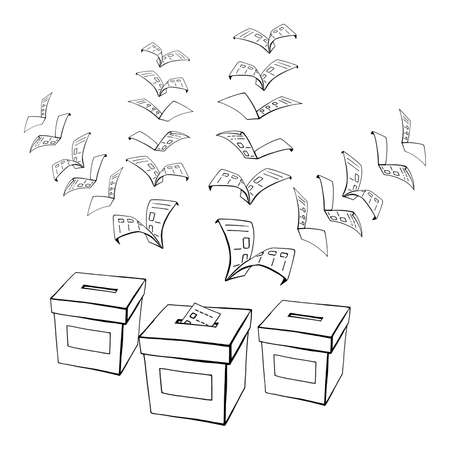 voting booth: hand drawn, vector, sketch, illustration of vote or voting