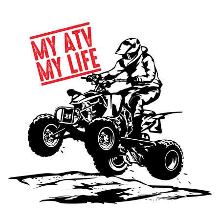ATV extreme sport racer, good for tshirt design and tournament logo