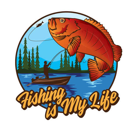 Red fish vector illustration, good for tshirt, sticker, competition, tournament and event logo design Vettoriali
