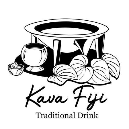Kava drink with leaf and bowl, good for kava drink brand product logo Illustration